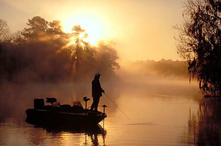 Bass fishing in the morning at sunrise